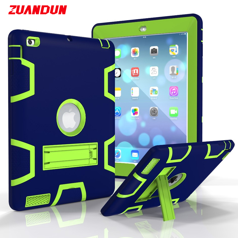 ZUANDUN Shockproof Case For iPad Air 2 Silicone TPU Heavy Duty Stand Armor Protection Case Cover For iPad Air 2 Tablets Cases