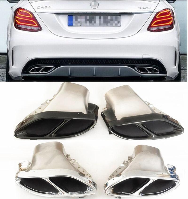 Embouts de queue de tuyaux d'échappement adaptés pour 2015 2016 2017 W205 C180/C200/C250/C300/C450 embouts d'échappement AMG/embouts de queue lèvre arrière AMG