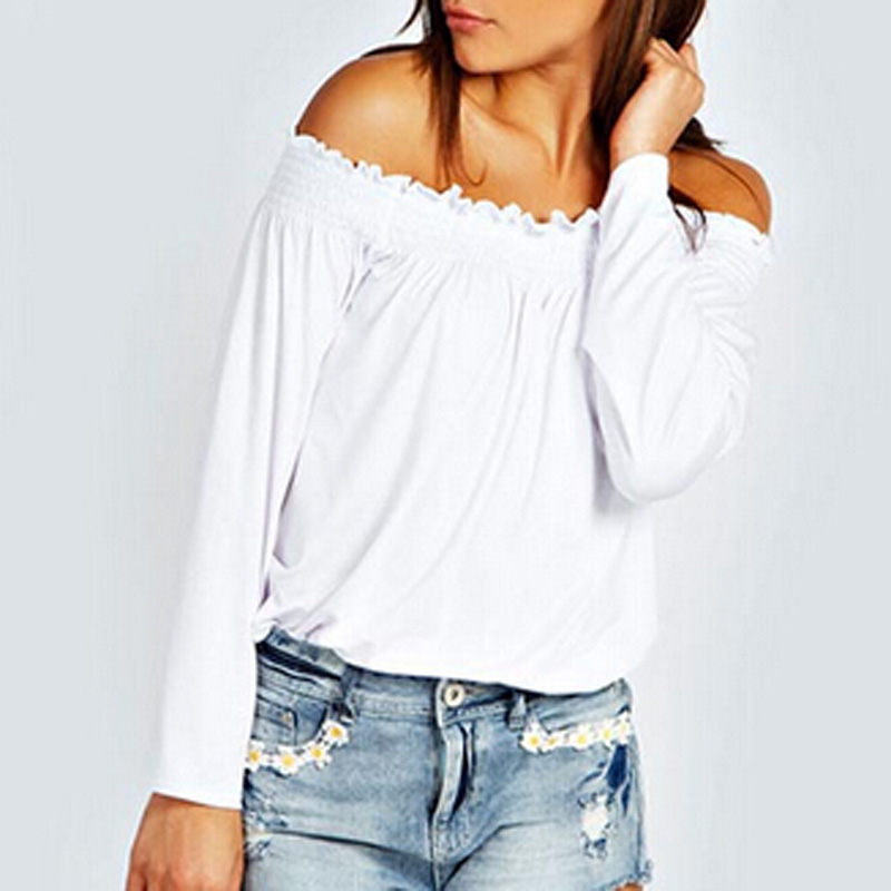 Blusas Femininas 2018 Spring Autumn Sexy Womens Blouses Ladies Shirred Off Shoulder Tops Casual Blouse Shirts Size S-XXL
