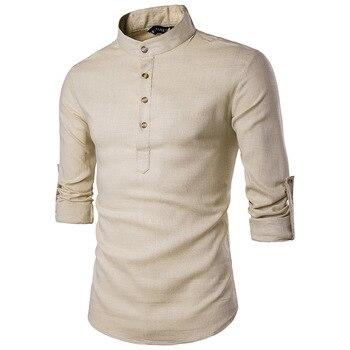 2018 Для мужчин Рубашки для мальчиков мода стоять опалить модель Повседневное с длинным рукавом Для мужчин рубашка h26