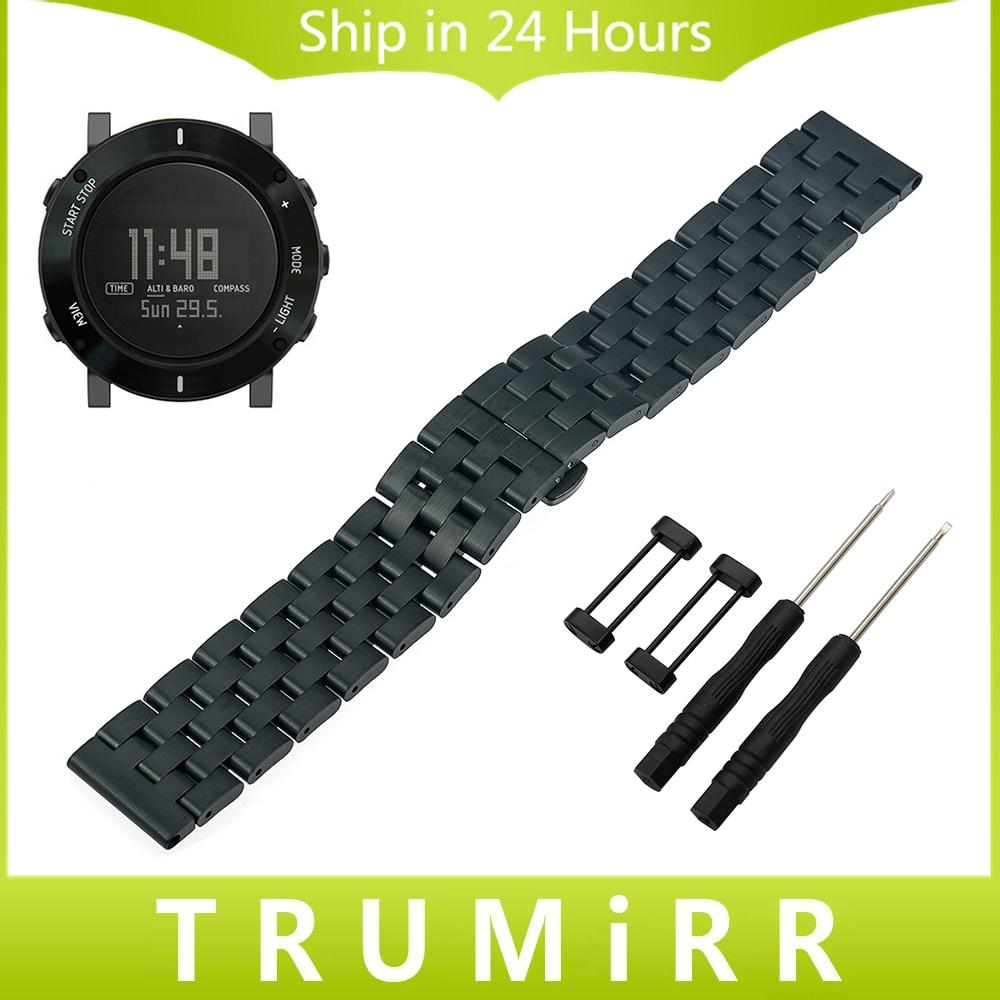 где купить  24mm Stainless Steel Watchband + Adapters for Suunto Core Watch Band Wrist Strap Bracelet All Links Removable Black Gold Silver  по лучшей цене