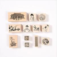 12pcs Chinese Palace Series Wooden Rubber Stamp for Kids DIY Handmade Scrapbooking Stationery,Photo Album,Diary Book Decoration