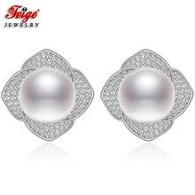 Flower Pure 925 Sterling Silver Stud Earrings for Woman 9-10MM White Freshwater Pearl Earring Luxury Wedding Jewelry Gifts FEIGE