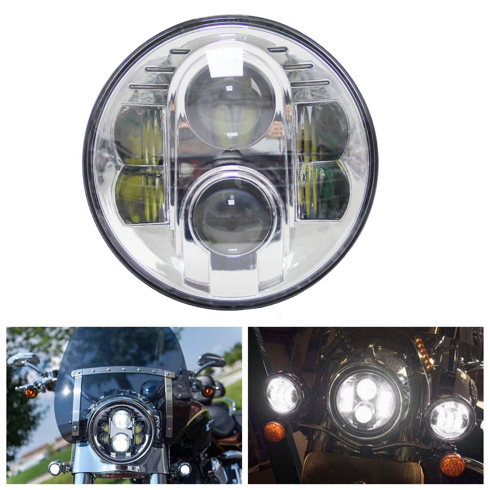 7 80W Round 7 inch LED Headlights for 2016 2017 Indian Chieftain 2002 2017 For Har