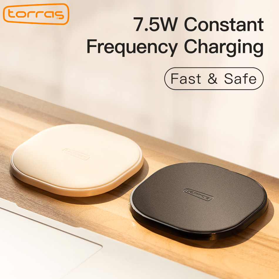 Torras Qi Wireless Charger Pad for iPhone X 8plus 7.5W Constant Frequency Slim Fast 10W Wireless Charging for Samsung S8/S7 Edge