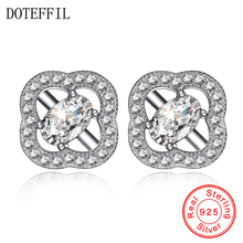 925 Silver Classic Stud Earring Women Jewelry White Crystal Cubic Zircon 100% 925 Sterling Silver Earrings ani 925 sterling silver women stud earring cz earring handmade jewelry bird shape design brincos para as mulheres 925 jewelry