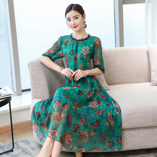 Real Mountain natural silk dress summer clothes for women plus size large robe party dresses print floral Chinese vintage