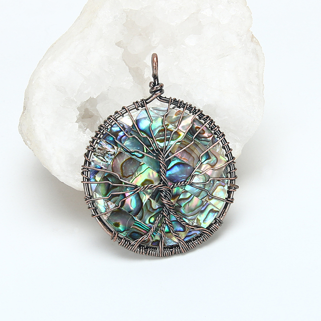 Natural abalone shell nacar concha pendant tree of life antiqued natural abalone shell nacar concha pendant tree of life antiqued copper wire wrapped abalone pendant round mozeypictures Image collections