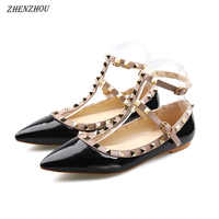 Sandals 2019 new patent leather word buckle flat with rivets shoes women's sandals shallow mouth pointed single shoes women