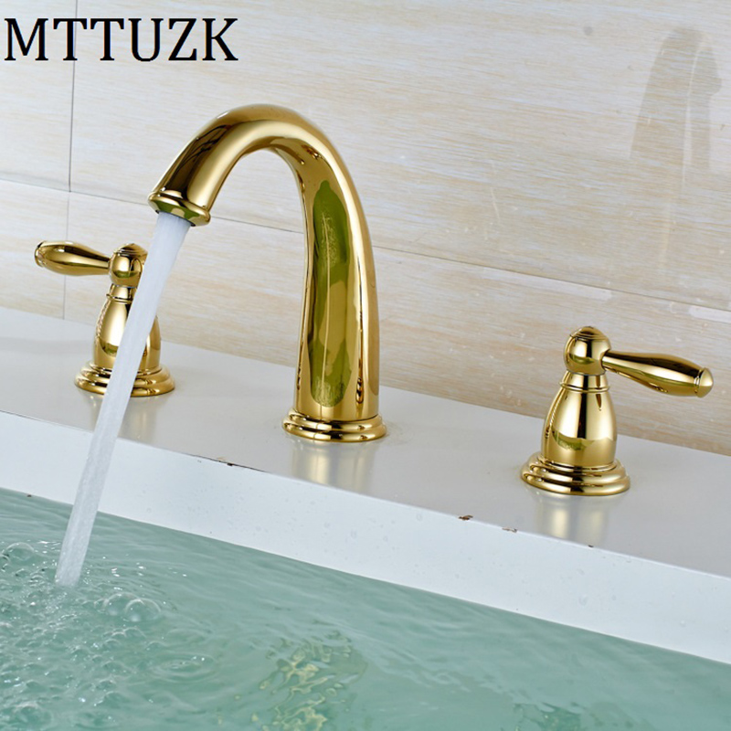 MTTUZK 3 piece Set Faucet Bathroom Mixer Deck Mounted Sink ...