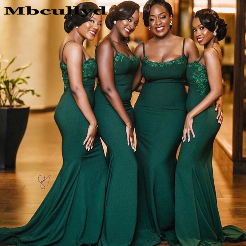 Mbcullyd Mermaid   Bridesmaid     Dresses   2019 Sexy Spaghetti Straps Dark Green Lace Appliques Long Maid Of Honor   Dress   Party Gowns