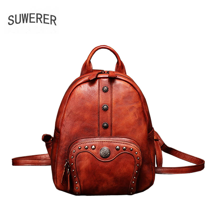 2019 New Women Genuine leather backpack Leisure travel backpack  brand leather women backpack fashion Handmade leather rivet bag2019 New Women Genuine leather backpack Leisure travel backpack  brand leather women backpack fashion Handmade leather rivet bag