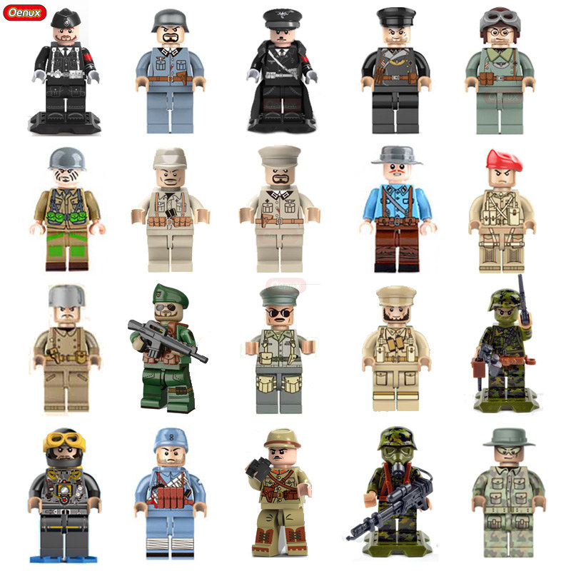 Oenux Newest WW2 Series Military Soldiers Building Block Soviet British Chinese Japanese Army Figures MOC Toy For Kids Xmas Gift oenux newest 6pcs ww2 the battle of imphal military scenes model uk british army figures building block brick educational toys