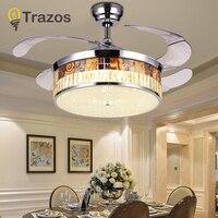 TRAZOS Village crystal Ceiling Light Fan Texture Remote Control Decorative Ceiling Fans With Lights Fan Lamp Ventilador De Techo