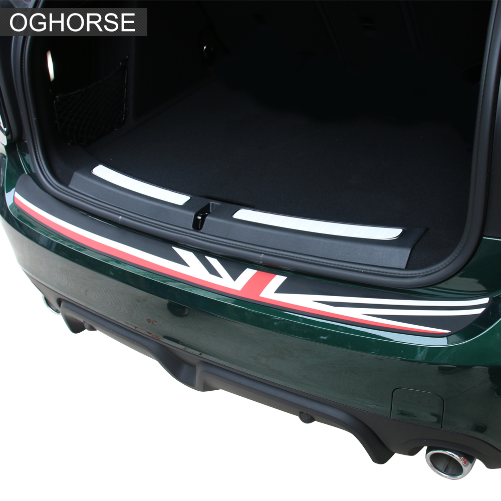 Union Jack Rear Bumper Rubber Protection Trunk Guard Trim Protector Sticker For MINI Cooper R55 R56 F55 F56 Countryman F60 R60