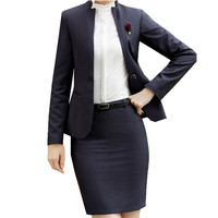 Fmasuth Office Uniform Stripe Skirt Suit Winter Full Sleeve Blazer Jacket+Skirt 2 Pieces Ladies Skirt Suits for Work ow0411