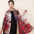 Inverno 2016 de alta qualidade real de 100% silk Scarf Shawl enrole hijab Lenços de moda das mulheres do sexo feminino vermelho clássico subiu padrão 175*52 cm
