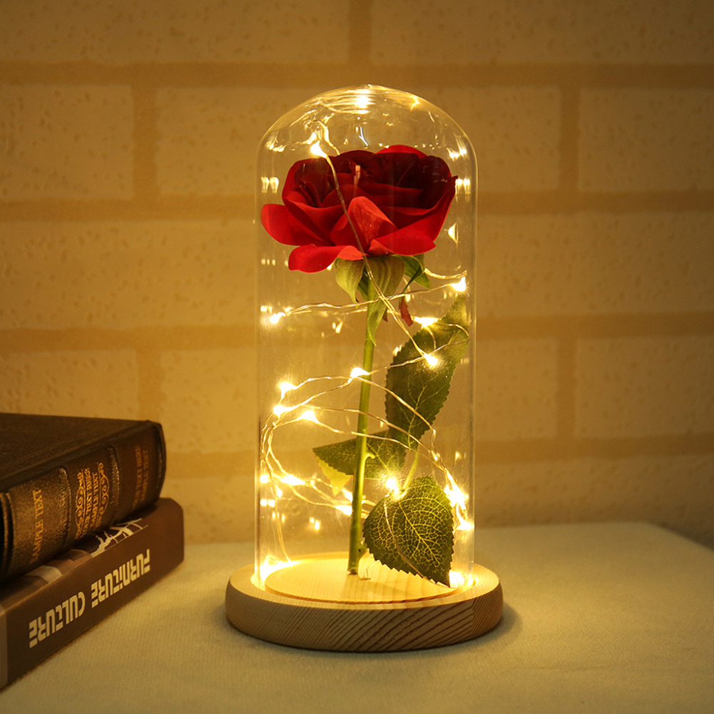 Artificial-Flowers Flask Red Rose Valentines-Day-Gift And Glass with Led-Light for The-Beast