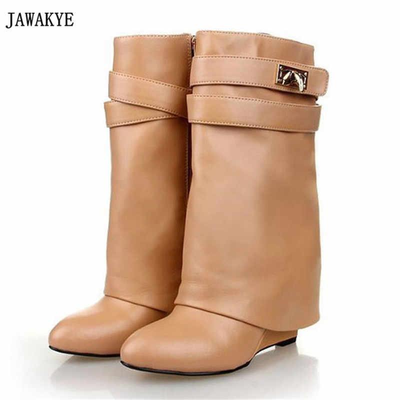 2017 Köpekbalığı Kilit Klasörü Orta Buzağı Kadın Kama Çizmeler yüksekliği artan Yüksek topuklu Ayakkabılar Yüksek Kaliteli Martin Katmanlı Çizmeler kadın