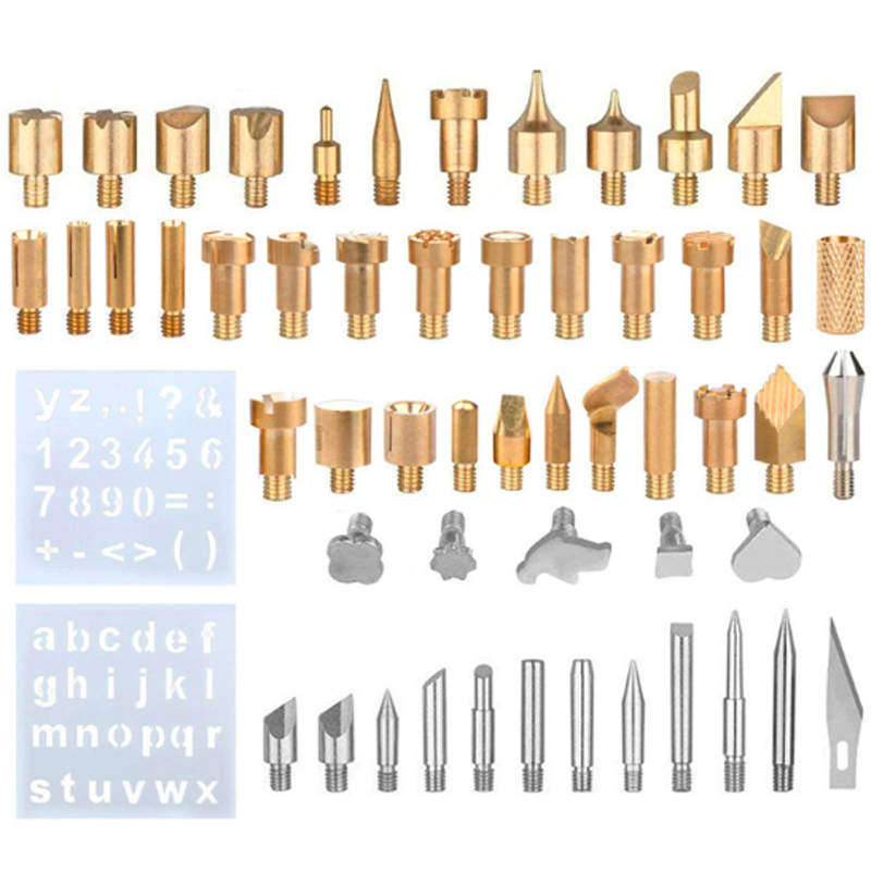 57Pcs/Set Wood Embossing Burning Pen Tip Stencil Soldering Iron Pyrography Working Carving Tool Kit For Hobby Craft