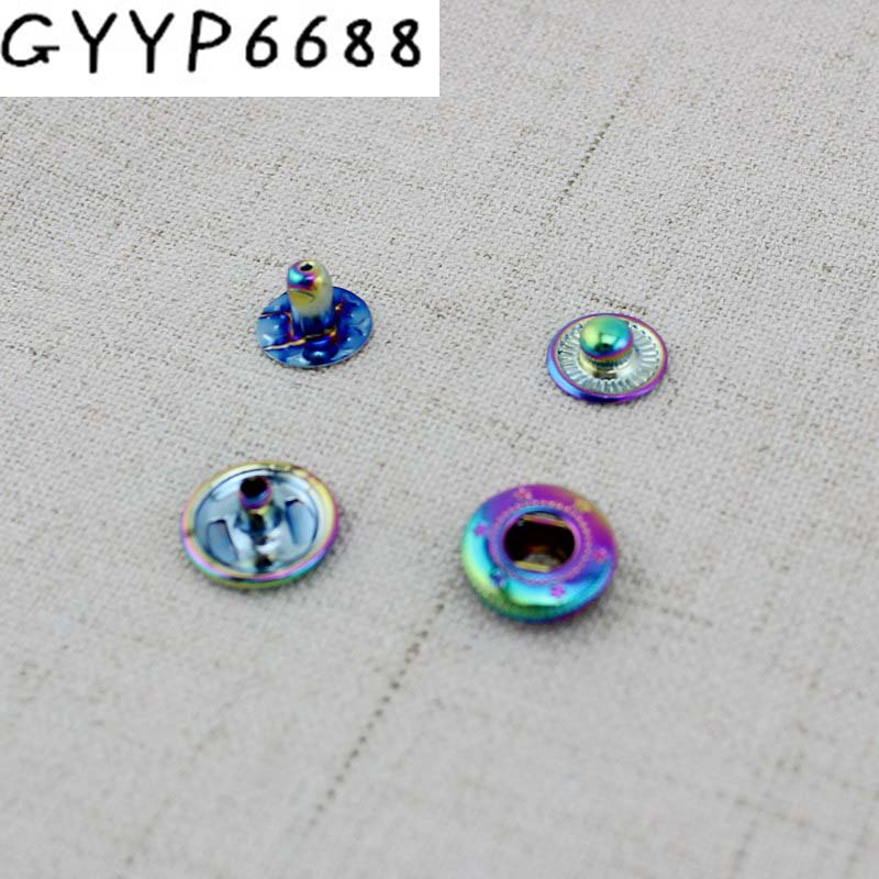 10-50pcs 12mm Rainbow DIY Coat Button Metal Snap Button Press Studs Rivet For Bags