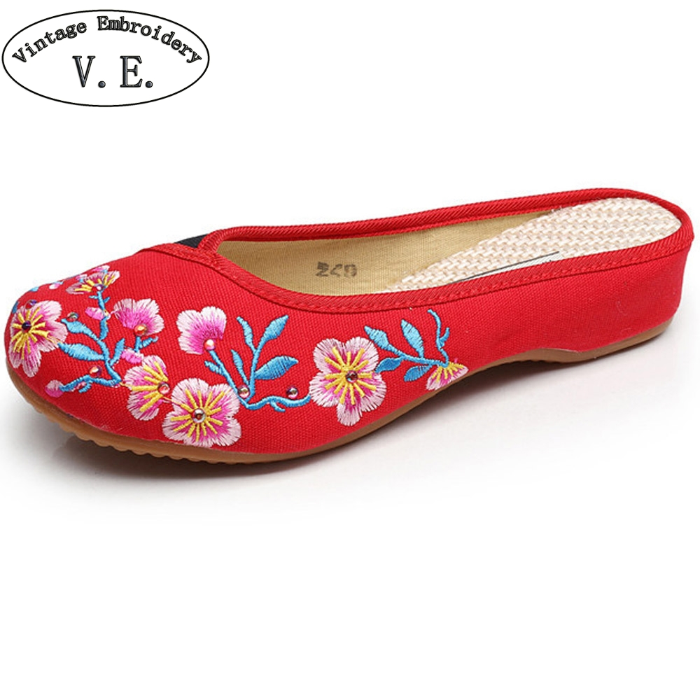 Chiense Women Slippers Floral Embroidered Canvas Old BeiJing Slippers Ladies Casual Comfort Cotton Slide Shoes Zapatos Mujer vintage women flats old beijing mary jane casual flower embroidered cloth soft canvas dance ballet shoes woman zapatos de mujer