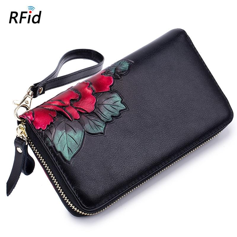 Anti RFID Genuine Leather Wallet Vintage Men Business Card Holder Wallet Women Bank Credit Card Case ID Holders Long Purse