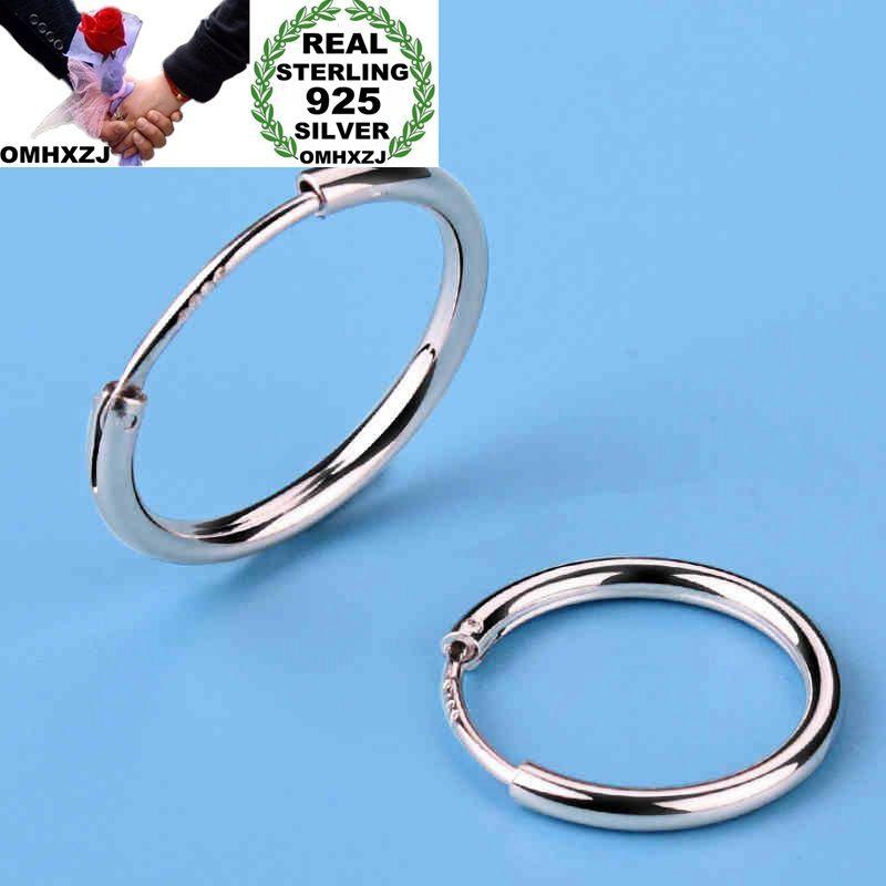 OMHXZJ Wholesale European Fashion Woman Girl Party Wedding Man Simple Round S925 Sterling Silver Hoop Earrings EA450
