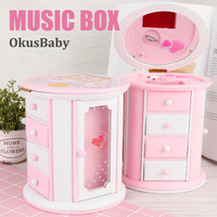 3 layers Girls Music Box Cartoon Toys Gift Drawers Storage Box with Mirror Jewelry Container Necklace Organizer Open Doors