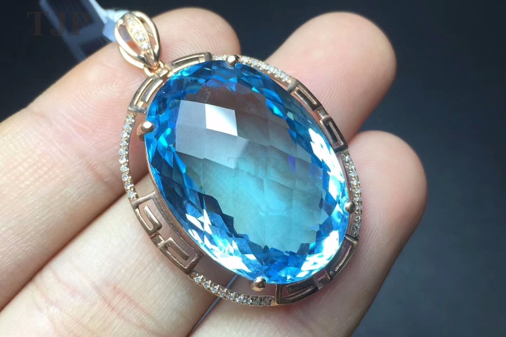 TJP natural GEMSTONE Blue topaz round citrine 18k Rose gold inlaid with 43 diamond with certificate charms necklace ситечко moulinvilla masterclass 7 5 см