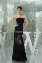free shipping 2013 zuhair murad design quality formal gowns handmade bow Custom size/color sexy black lace long evening dress
