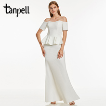 Tanpell off the shoulder evening dress black short sleeves floor length sheath gown cheap lady ruffles long formal