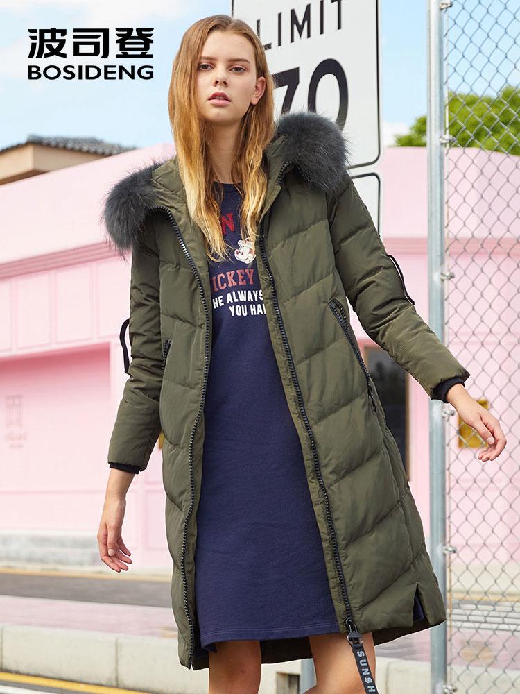 BOSIDENG женская зимняя куртка-пуховик средней длины с натуральным меховым воротником X style тонкая утолщенная верхняя одежда водостойкая B70141014V