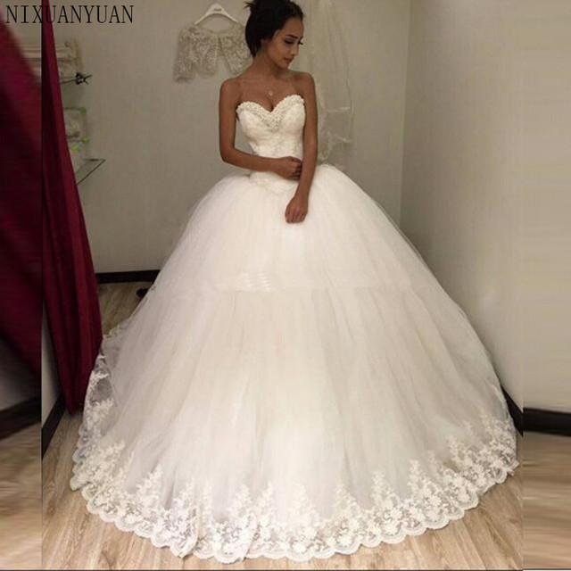 f5a681afa869 Sexy 2019 New White Beaded Lace Tulle Ball Gown Wedding Dress Vestidos De  Noiva Bridal Gowns Wedding Gowns for Bride