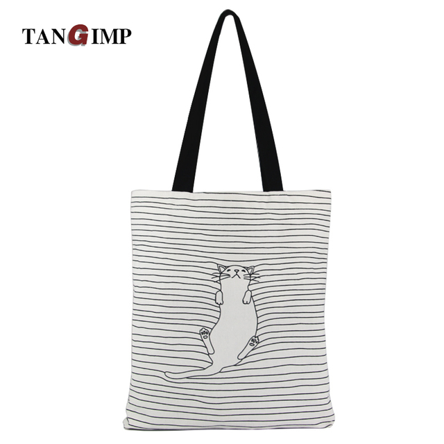 Cute Striped Napping Cat Beach Bag
