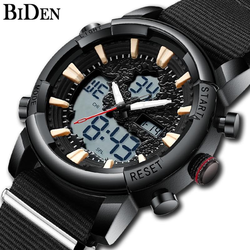 Biden Luxe Horloge Mannen Militaire Outdoor Waterdichte Sport Mannelijke Klok Datum Week Tonen Lichtgevende Mode Heren Quartz Horloges