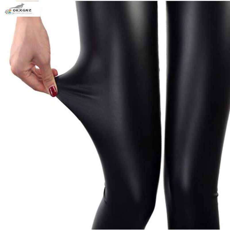 OKXGNZ Spring Leather Leggings 2017 Wear Thin Section Leather Pants Female Feet Pants Were Thin Stretch Large size Autumn Pants