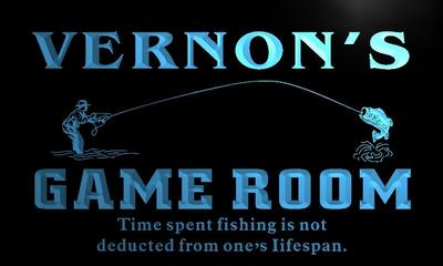 x0186-tm Vernons Fishing Hole Game Room Custom Personalized Name Neon Sign Wholesale Dropshipping On/Off Switch 7 Colors DHL