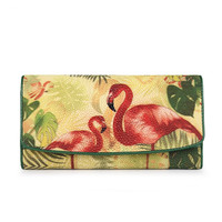 Fancy Printing Female Flamingo Purse Genuine Stingray Skin Lady Long Trifold Card Wallet Exotic Leather Women Large Phone Clutch