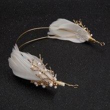 Oro barroco vintage diadema de boda, pluma pelo nupcial, accesorio peine joyería diademas Tiara de perlas mujeres accesorios de Boho