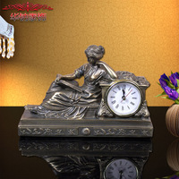 European style imitation copper beauty desk clock ornaments, resin crafts Home Furnishing living room decor
