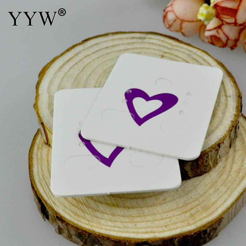YYW 100 PCs Square Purple Heart Printed Ear Hooks Earring Display Cards Rectangle Card 48*38mm Wholesale Price 2017