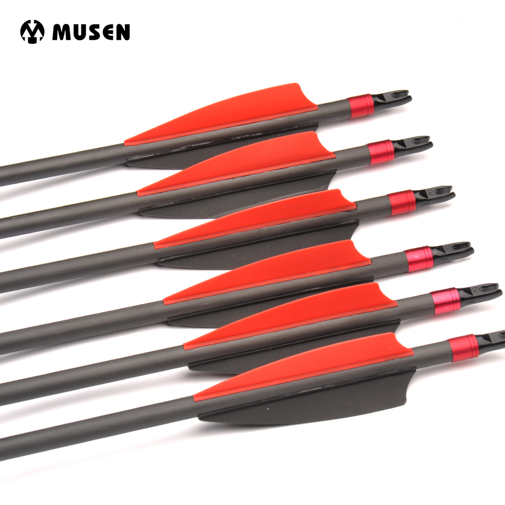6/12/24pcs Carbon Arrows spine 350 OD 7.6mm With Changeable Arrowhead nock Can be Turned for Archery Recurve Compound Bow