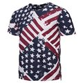Moda Zipper T-shirt Dos Homens/Mulheres Tshirts de Impressão 3d da Pintura Da Bandeira DOS EUA Verão Tees Tops Listradas Camisas camiseta