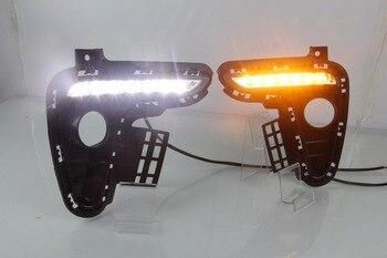 1 Set White Yellow Car light DRL LED Daytime Running Lights fog lamp With Turn Signal Light For Kia Rio K2 2017-2018