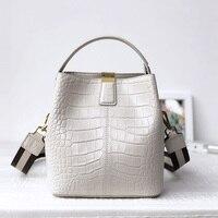 New Genuine Leather Crossbody Bag Women Messenger Bags Brand Designer Handbags Fashion Female Crocodile Shoulder Bag Bucket Bag