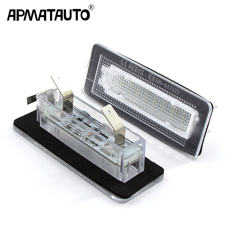 Apmatauto 2Pcs 18SMD LED License Plate Number Light Lamp Error Free For Benz Smart Fortwo Coupe Convertible 450 451 W450 W453