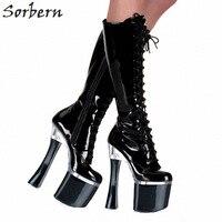 Sorbern Fashion 18Cm Square High Heels Mid Calf Boots 8Cm Woman Platform Heels Punk Botas Mujer