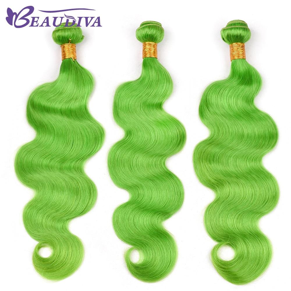 BEAU DIVA Hair Three Weave Bundles Remy Hair Extensions GreenYellow color Indian Body Wave Bundles 100% Human Hair