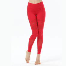 Mesh Yoga crop high waist Women Sports leggings Solid Elastic Waist pants Cross Design hollow out capris Free Shipping